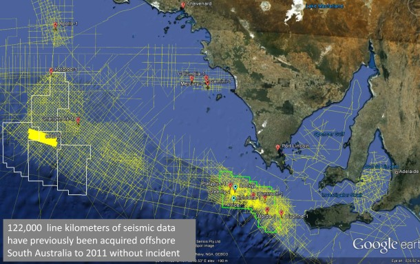 Fig1: Seismic & Drilling activity in SA Bight to 2011 - 122,000 line km of seismic coverage & 12 exploration wells
